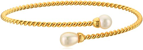 Bracelet Wire Memory Designs (18k Yellow Gold Plated Sterling Silver Double Freshwater Cultured Pearl Twisted Memory Wire Cuff Bracelet, 7.25