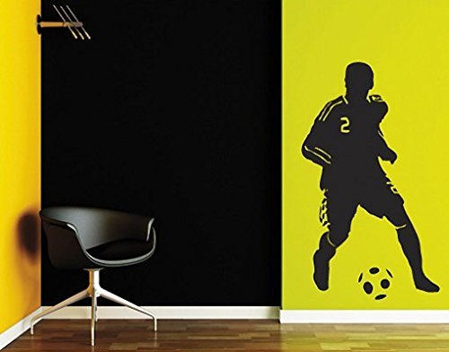 Wall Decal no.UL186 soccer player 2 | wall tattoo wall tattoos wall stickers | Color: Brown; Dimensions: 82.7 x 48 inches by apalis