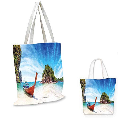 Tropical shopping bag Surreal Beach in Thailand with an Old Wooden Boat Island Ocean Picture foldable shopping bag Fern Green Blue Cream. 12