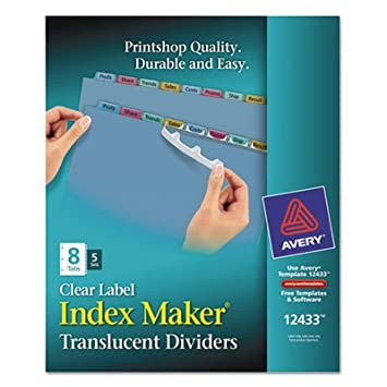 Avery Index Maker claro Etiqueta separadores para archivador, 8-Tab, carta, multicolor