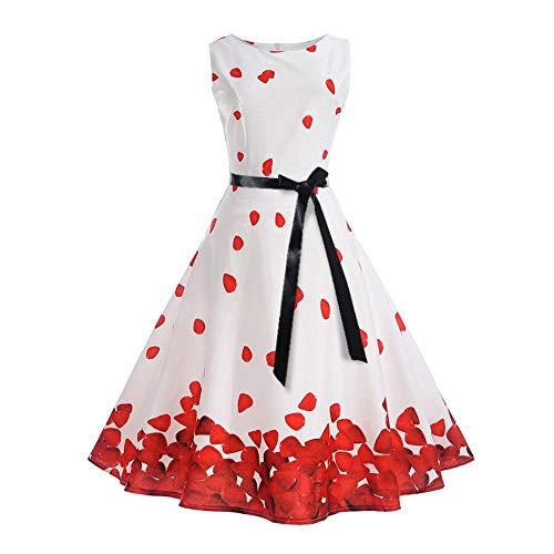 Auimank Big Women Vintage Printing Bodycon Sleeveless Halter Evening Party Prom Swing Dress(White,Medium)