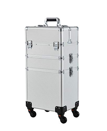 Makeup Case - 3 In 1 Aluminum Professional Rolling Cosmetic Beauty Storage With Folding Trays and Large Compartments ()