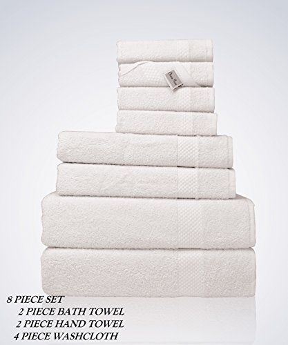 Lint Free 8 Piece Bulk Turkish Towel Set Clearance Prime Bathroom (2 Bath 2 Hand 4 Washcloths Pack) 450 GSM Quick Dry Off Premium Cotton Spa Hotel Quality Luxury Designer 2018 Collection Bundle White (Inexpensive Sets Bath Towel)