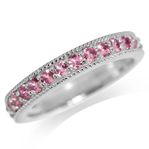 (Natural Pink Tourmaline White Gold Plated 925 Sterling Silver Journey Ring Size 6.5)