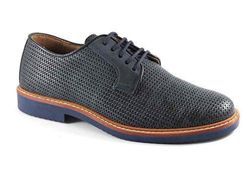 IGI & CO 76771 blaue Schuhe Mann Sport-Derby elegante Leder gesponnenes Druck Blu