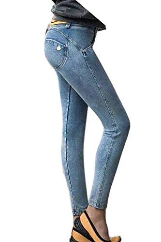 Cintura Ankle Up La Mujer Elástico Vaqueros Azul Ropa Alta Skinny Denim Pantalones Casual Push Hg7fxIgwq