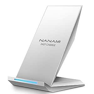 NANAMI Cargador Inalámbrico Rápido, Qi Inalámbrica Carga Rápida 10W y Estándar 5W para iPhone 11/11 Pro/XS/XS MAX/XR/X/ 8 Plus/ 8,Wireless Quick ...