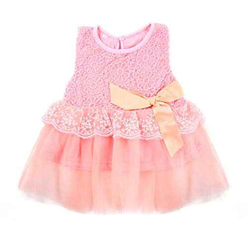 Summer Baby Girl Dress Vestidos Kids Lace Flower Summer Party Princess Dresses Baby Girl Clothes Pink 24M