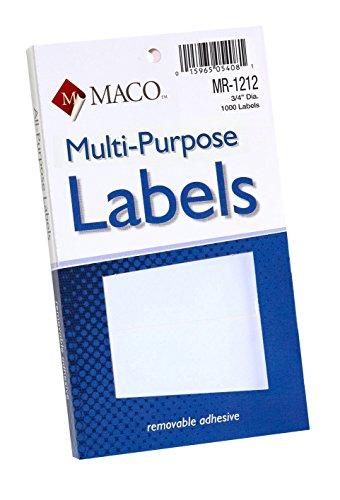 MACO White Round Multi-Purpose Labels, 3/4 Inches in Diameter, 1000 Per Box (MR-1212)