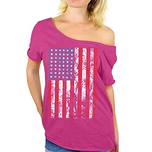 Hivot Women's T Shirt Short Sleeve Loose Vest Tops Blouses Plus Size Independence Day Tank Tee Polos Sweatshirt Shirts Hot Pink