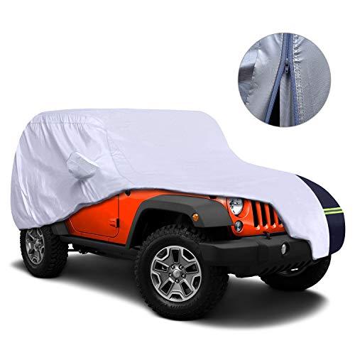 KAKIT Driver Door Zipper Jeep Cover, Jeep Wrangler Cover for CJ,YJ, TJ,& JK Waterproof + UV Protection + Windproof + Rip Resistance + Lightweight, Fits Jeep 2 Doors 1987-2017