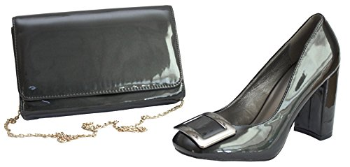 amp; Lunar Buckle Patent Hand Bag Matching Clutch Red Anthracite Anthracite and High with Chunky Shoes Heel YYOBrqw