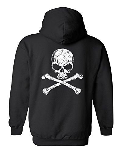 Black Bone Cross (SHORE TRENDZ Men's/Unisex Pullover Hoodie Skull and Cross Bones BLACK (5XL))