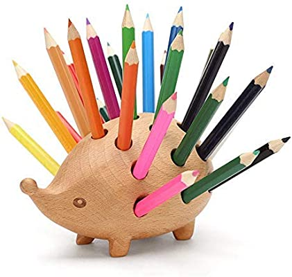 DuDu Soporte para bolígrafo de Madera, Caja de Madera con Forma de Erizo, Estuche para bolígrafo, decoración de Oficina Estilo Animal, Caja de Almacenamiento de diseño Creativo: Amazon.es: Hogar
