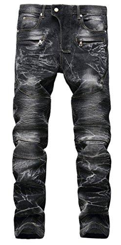 Men's Stylish Camo Straight Fit Stitching Moto Biker Black Jeans (Faded Black Jeans)