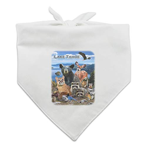 - GRAPHICS & MORE Lake Tahoe California CA Nevada NV Animals Bear Cougar Deer Dog Pet Bandana - White