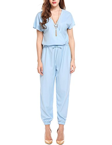 ELESOL Women Sexy Wrap V Neck Wide Leg Short Sleeve Cocktail Party Jumpsuit Blue S (Wrap Jumpsuit)