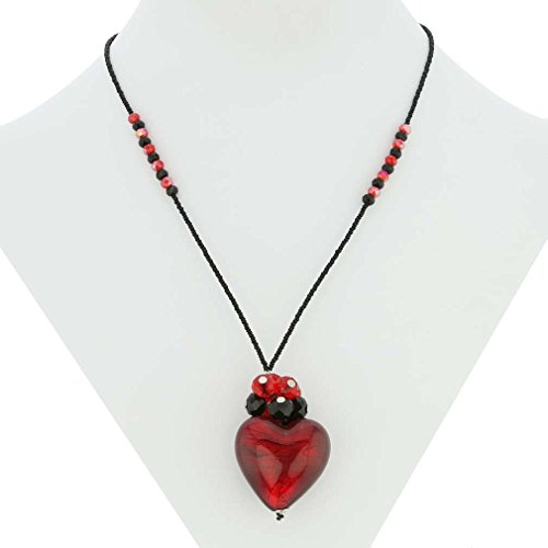 GlassOfVenice Murano Glass Venetian Love Heart Necklace - Ruby Red and Black
