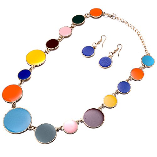 DiLiCa Women Statement Bib Necklace and Earring Set Girl Charm Costume Choker Novelty Enamel Jewelry Set