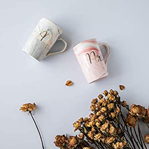 Jumway Mr and Mrs Coffee Mugs – Wedding Gifts for Bride and Groom – Gifts for Bridal Shower Engagement Wedding and Married Couples Anniversary – Ceramic Marble Cups 14 Oz Pink