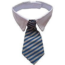 Vedem New Small Dog Cat Pet Stripe Bow Tie Neck Tie White Collar Choose Color (Blue/Khaki)