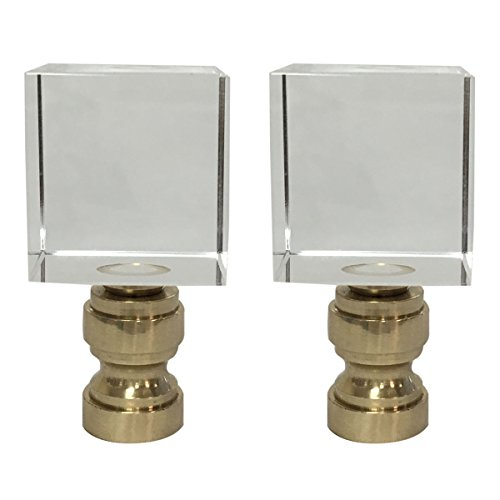 (Royal Designs Clear Cube K9 Crystal Lamp Finial with Polished Brass Base - Set of 2)
