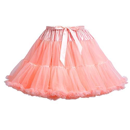 Women's Elastic Waist Chiffon Petticoat Puffy Tutu Tulle Skirt Princess Ballet Dance Pettiskirts Underskirt (Champagne Pink) ()