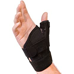 Mueller Sports Medicine Reversible Thumb Stabilizer, Black, Measure Around Wrist- Fits 5.5 - 10.5 Inches