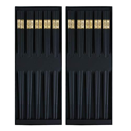 (10 Pairs Reusable Chopsticks Fiberglass Non-slip Japanese Dishwasher Safe Chopsticks 9.8 Inch with Gift Case)