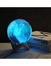 Galaxy Lamp Moon Lamp Kids Night Light 5.9 inch 16 Colors LED 3D Star Moon Light with Wood Stand, Remote & Touch Control USB Rechargeable Gift for Baby Girls Boys Birthday