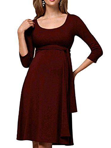 Dress Women Midi Mama Red Coolred Fashion Clothes Color Crew Belted Solid Neck Wine vFxzqdO