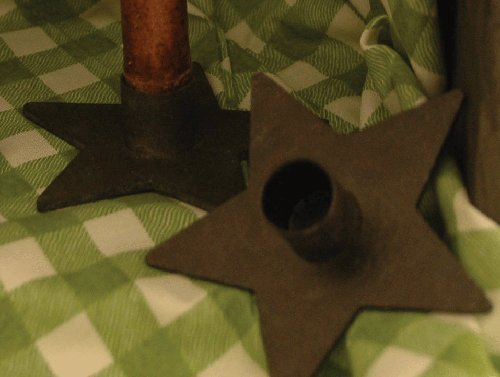 Country Charm Candle (Candle Holder - Black Cast Iron Star - Primitive Country Rustic Taper Stick Holder)