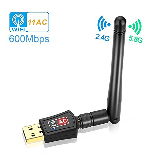 Warmstor 600Mbps Dual Band (2.4G/150Mbps+5G/433Mbps) Wireless USB Wifi Adapter, Antenna USB WiFi Network Dongle Adapter Support Windows XP/Vista/7/8/8.1/10 (32/64bits) MAC OS by Warmstor