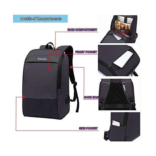 """Xnuoyo Zaino per Portatili 17.3"""" Zaino Laptop Impermeabile di Ricarica USB,Zaino per PC Portatile da Borsa per Lavoro… 4 spesavip"""