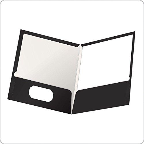 Oxford Showfolio Laminated Twin Pocket Folders, Letter Size, Black, 25 per Box (51706EE)
