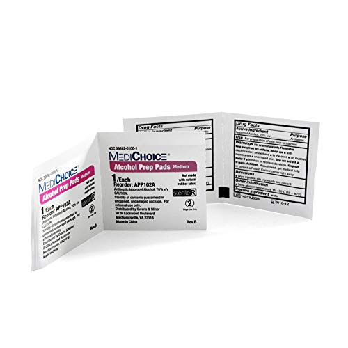 MediChoice Alcohol Prep Pads, 2-Ply Sterile, 7% Isopropyl Alcohol, Medium, 1.19x2.63 Inch, 1314APP102A (Case of - Mask Swabs Alcohol