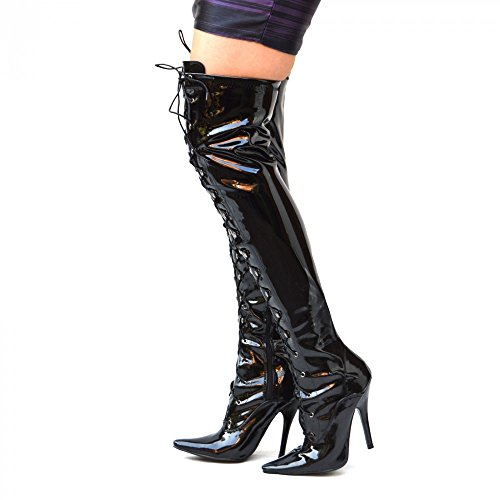Thigh Zip Lace Stiefel Up Patent Over Black Ladies Footwear Stiletto Sexy Heel High Kick Knee High Womens 6POzwqxB