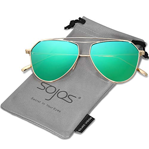 SOJOS Polarized Flat Mirror Lenses Sunglasses Classic Metal Double Bridge Glasses SJ1040 with Gold Frame/Green Mirrored Polarized Lens