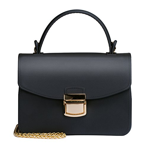 Top Handle Clutch Handbags Jelly Crossbody Bags for Women Tote Purse - Black