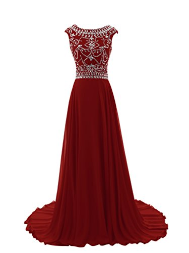 Diyouth Floor Length Bridesmaid Dress Cap Sleeves Beaded Prom Evening Gown Burgundy Size 26W (Red Bridesmaid Dresses Size 26)