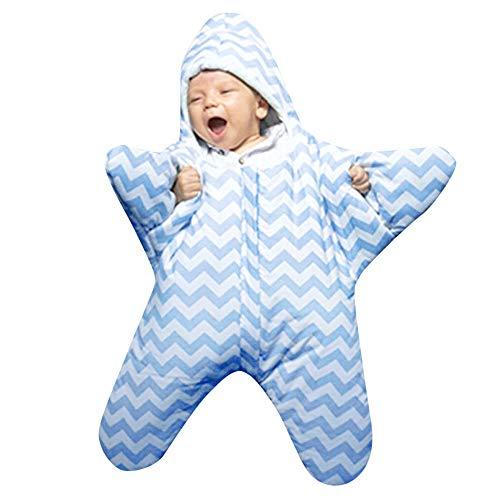 Sameno Infant Baby Boys Girls Swaddle Starfish Sleeping Bag Stripes Muslin Anti-Kick Sleeping Bag (Blue)