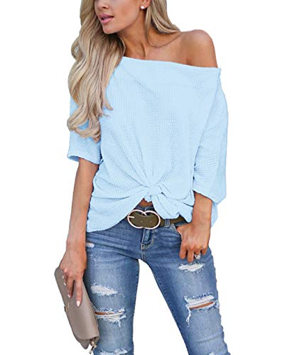 LACOZY Women's Casual Waffle Knit Tunic Blouse Sexy Off The Shoulder Tops Knot Batwing T Shirt Sky Blue Medium(8/10) ()