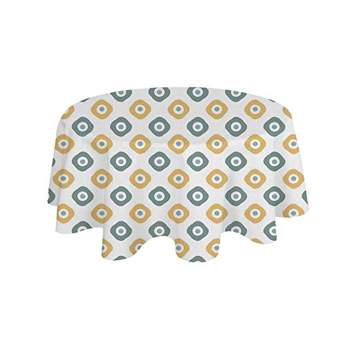 (YOLIYANA Vintage Waterproof Round Tablecloth,Stylish Evil Eye Bead Amulet Like Figures Cubical Rounded Dotted for Living Room,27