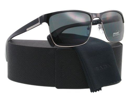 0e911e9ad9 Prada Metal Square Sunglasses in Black   Silver PR 51OS GAQ1A1 58  Prada   Amazon.co.uk  Clothing