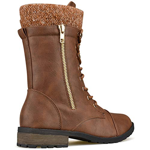 Knitted Ankle Premier Premier up Boots Heel Tan Standard Toe Low Cuff Lace Military Combat Round wrBqOYXxq0