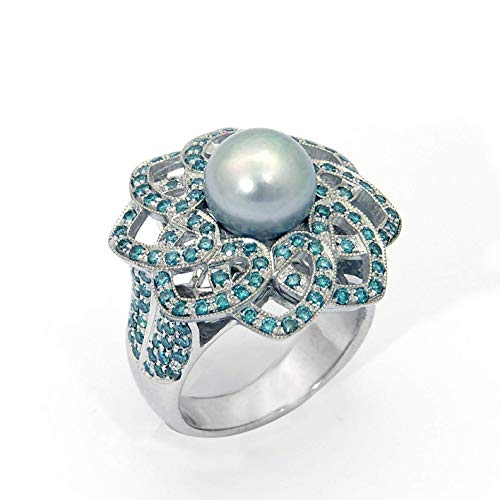 18k White Gold Pearl Queen of Hearts Ring