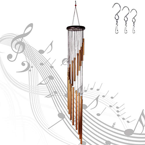"Epartswide Wind Chimes Outdoor,Large Wind Chimes,36"" Garden Chimes with 18 Aluminum Alloy Tubes and 3 S Hooks for Garden Patio Decor(Golden)"