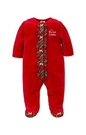 Amazon Little Me Baby Girls Holiday Plaid Footie