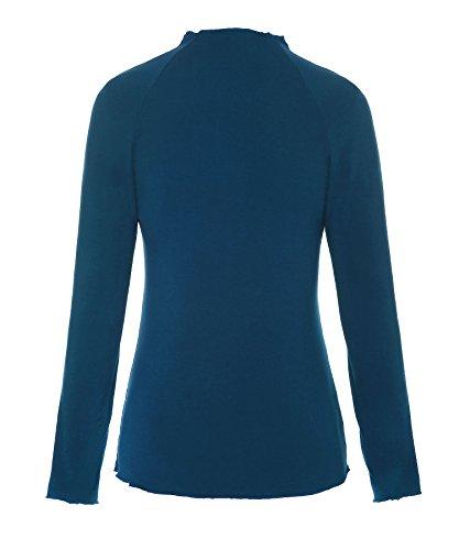 pavone Base Donne collo shirt Solido manica Tinta ReliBeauty T Tee Raglan Tops Unita Di a Manica lupetto lunga blu T0Zx0dq
