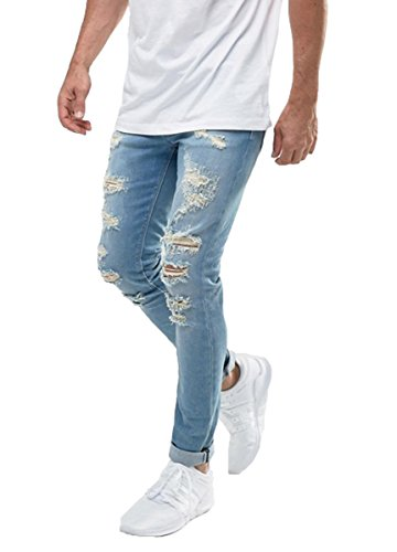 Men's Distressed Heavily Ripped Skinny Fit Slim Broken Jeans Blue Wash 34